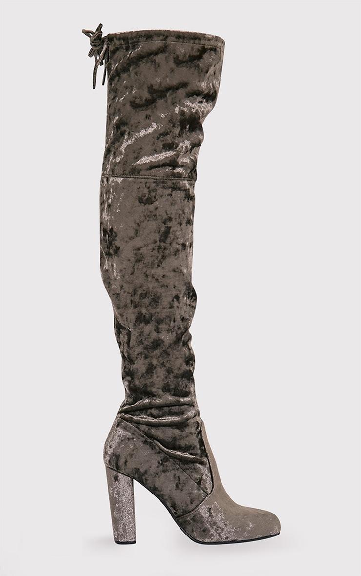 Bess Khaki Crushed Velvet Heeled Thigh Boots 5