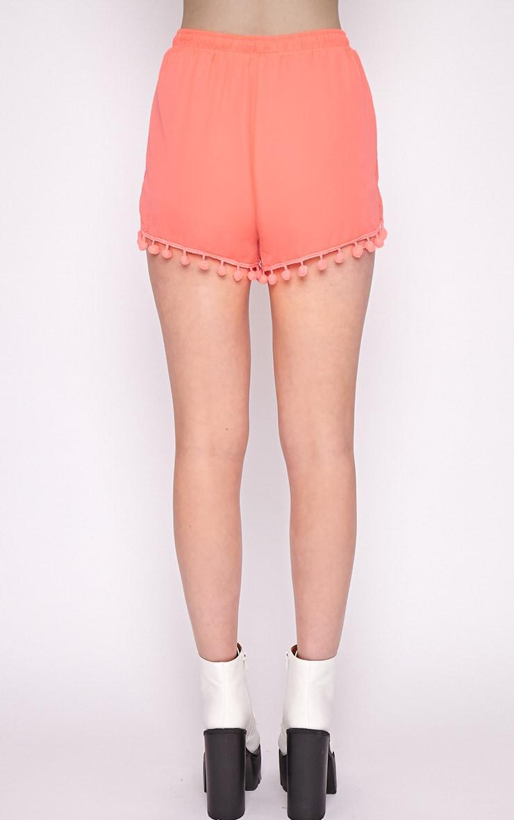 Sofia Neon Coral Pom Pom Boxer Short 2