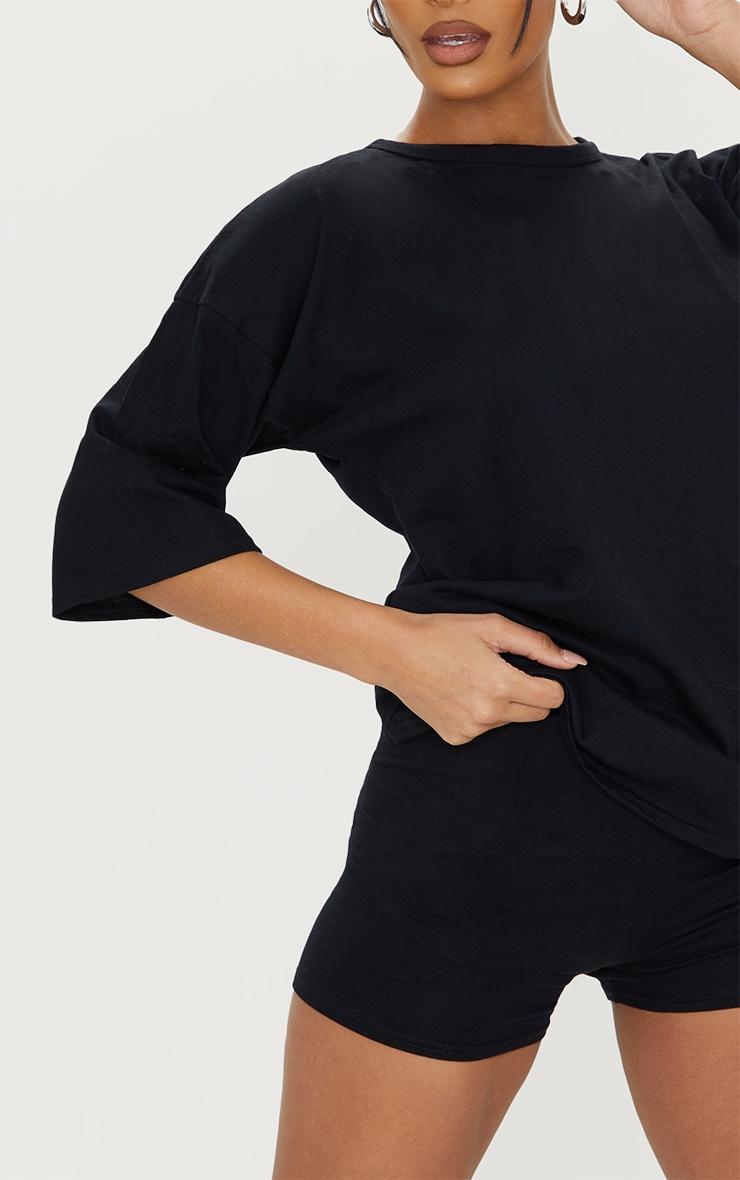 Black Cotton Oversized T-Shirt & Hot Pants Set 4