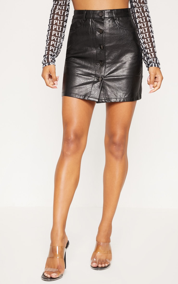 Black Matte Coated Button Down A-Line Skirt 2