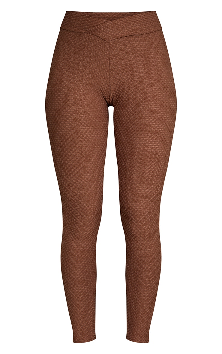 Chocolate V Waist Textured Leggings 5