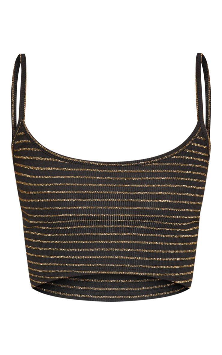 Black Rib Glitter Stripe Strappy Crop Top 3