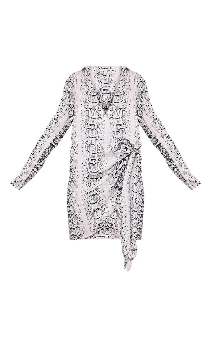 Jadia Grey Snake Print Chiffon Tie Side Shirt Dress 3