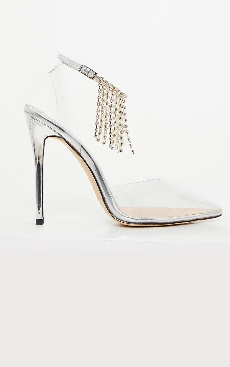 Silver Diamante Tassel Clear Court Shoe 3