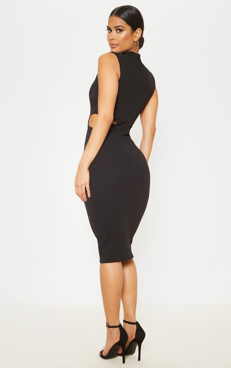 Black High Neck Waist Cut Out Sleeveless Midi Dress 2
