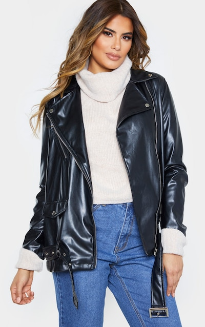 Tall Black Oversized Longline PU Biker Jacket