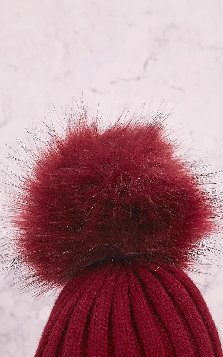 Junah Burgundy Knitted Pom Pom Beanie 3
