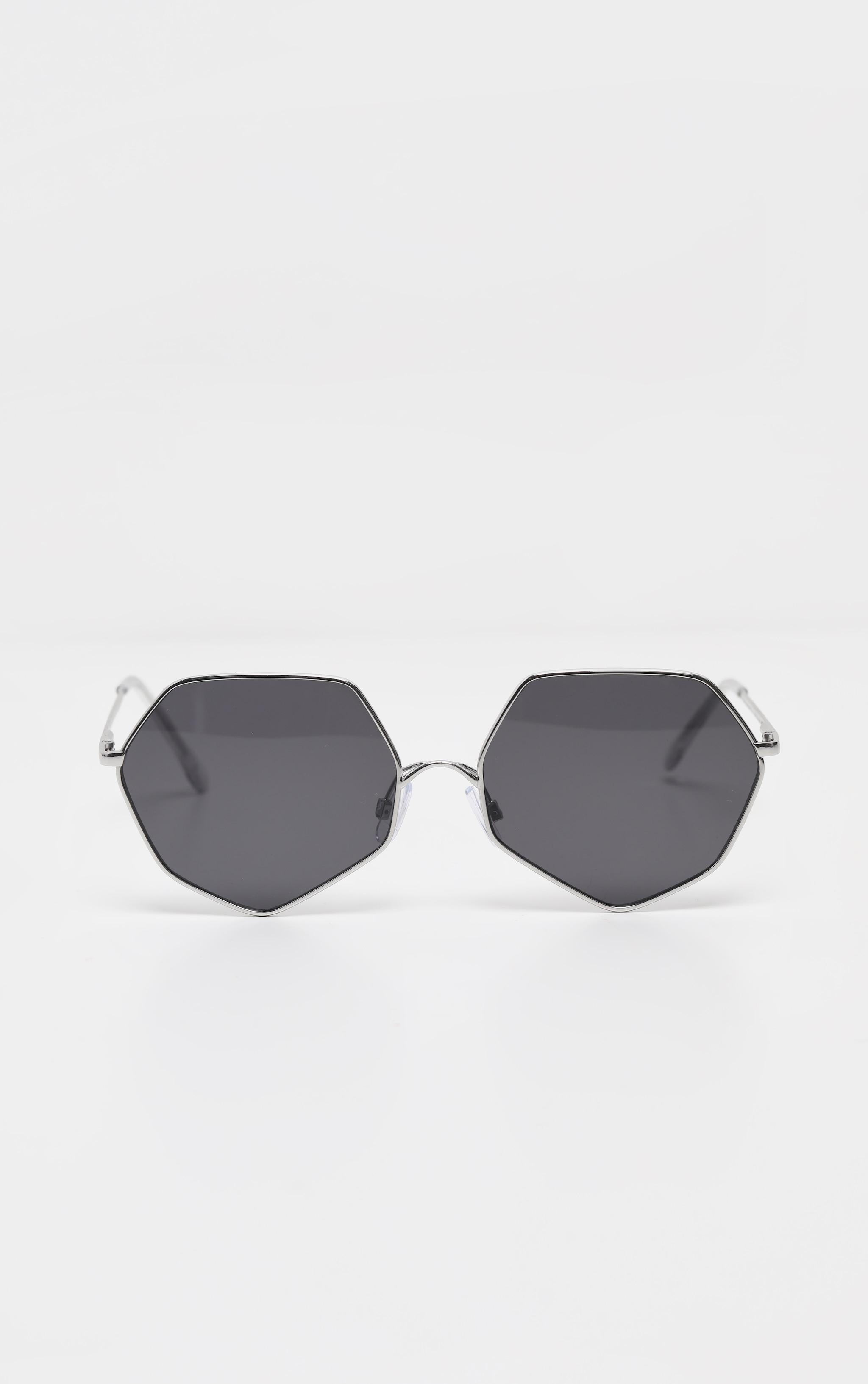 Silver Frame Black Lens Hexagon Sunglasses 2