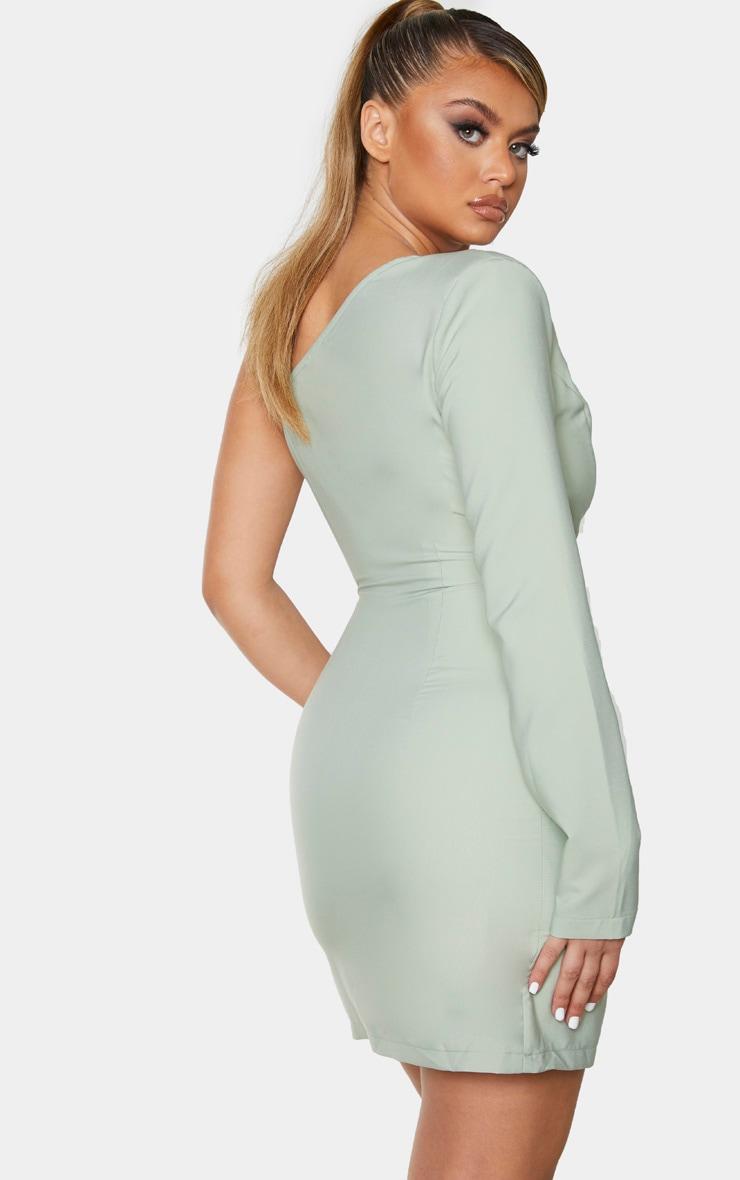 Sage Green Asymmetric Drape Split Bodycon Dress 2