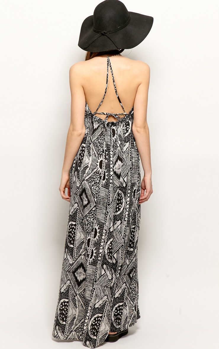 Cailin Black & White Aztec Print Maxi Dress 2