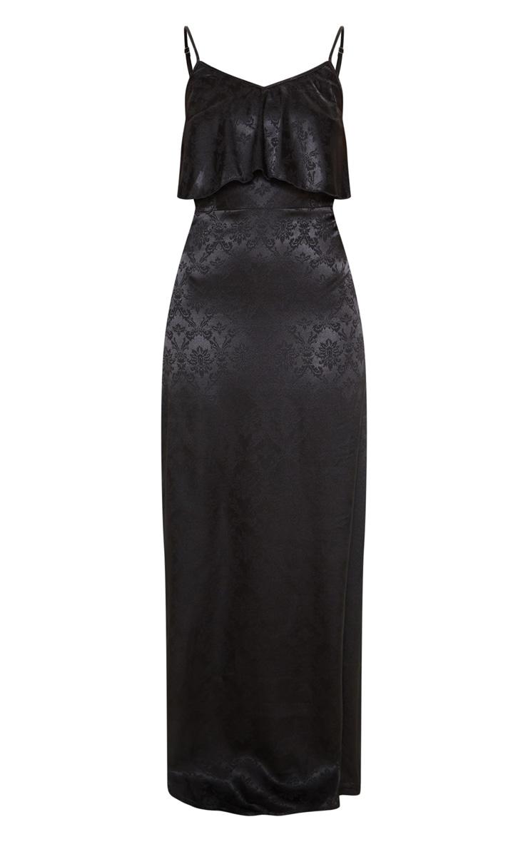 Robe longue en jacquard satiné noir à fines bretelles 3