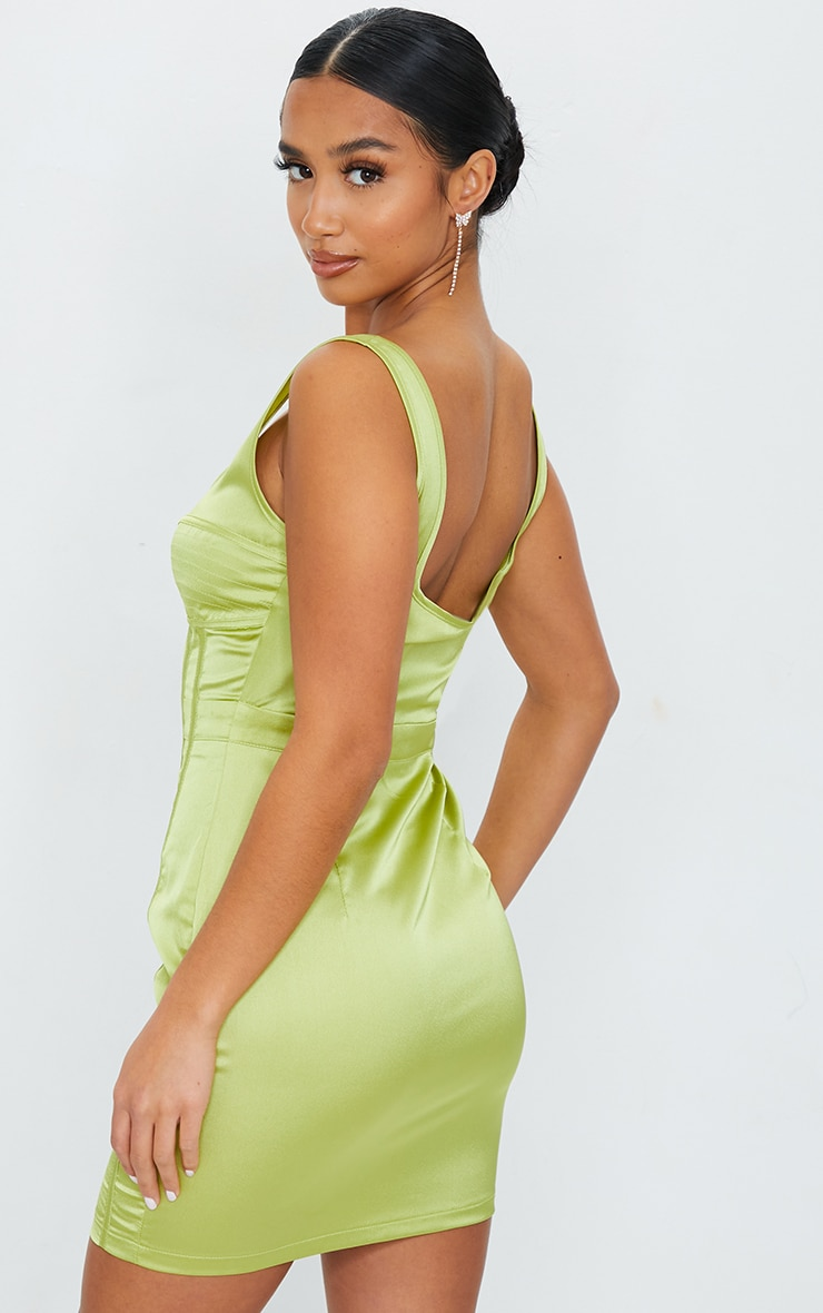 Petite Chartreuse Satin Corset Detail Bodycon Dress 2