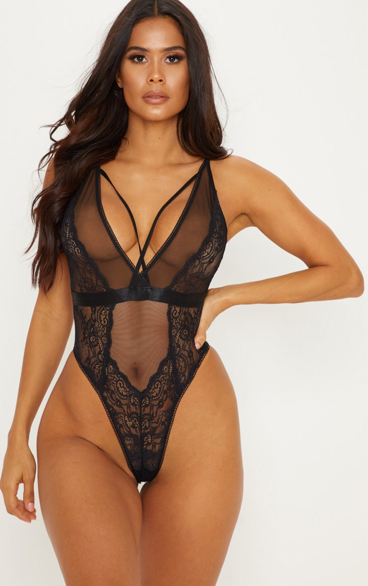 Black Mesh & Lace Delicate Harness Strap Body 1
