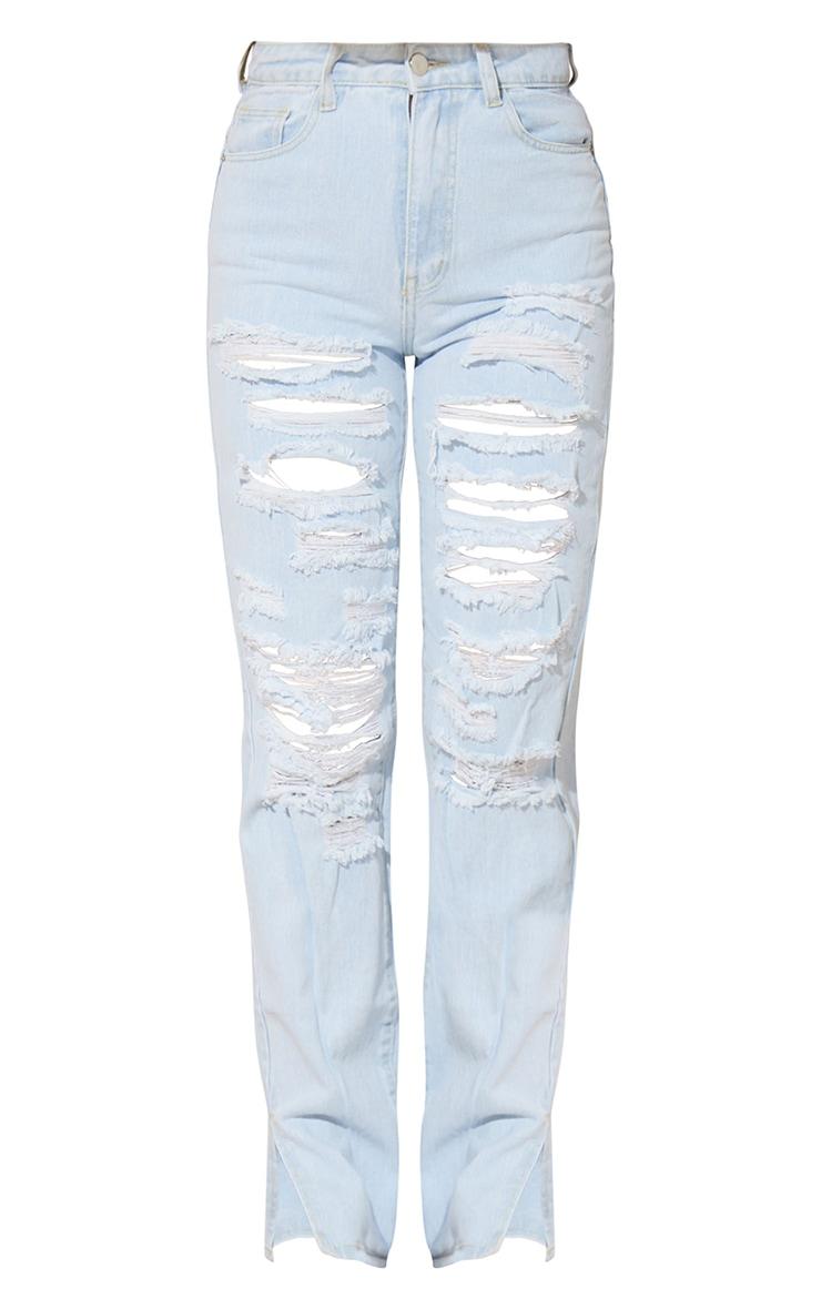 Bleach Wash Full Ripped Split Hem Jeans 5