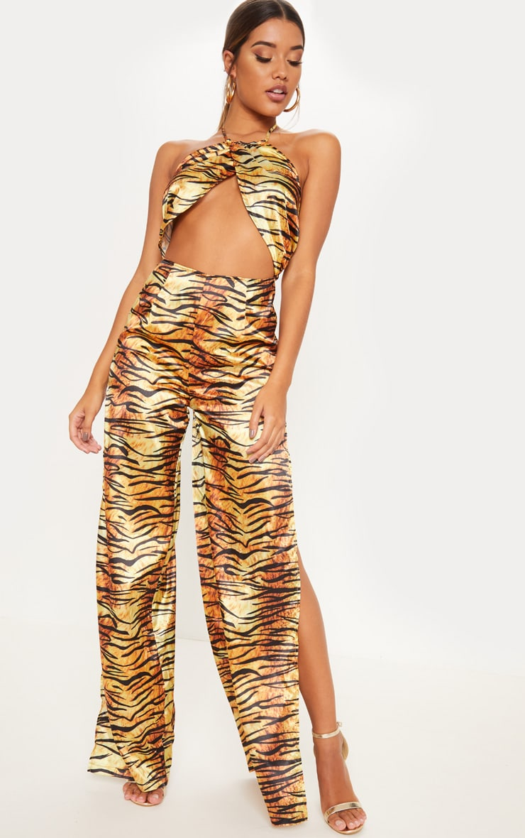 d35048e8769d Gold tiger print cross over front split leg jumpsuit image jpg 740x1180 Tiger  jumpsuit