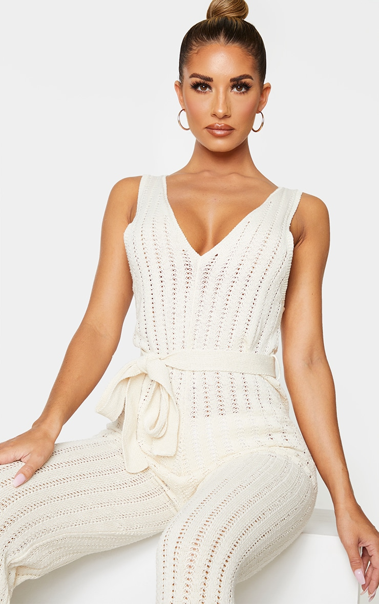 Cream Crochet Knitted Belted Jumpsuit 4