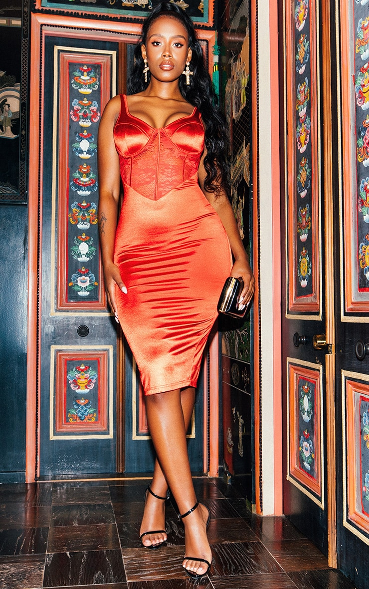 Red Satin Bustier Lace Insert Midi Dress 1