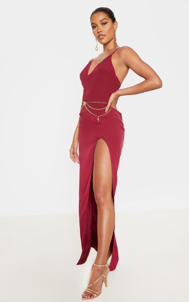 Burgundy Strappy Cross Back Maxi Dress 4