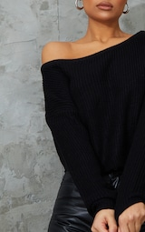 Black Off The Shoulder Knitted Sweater 4