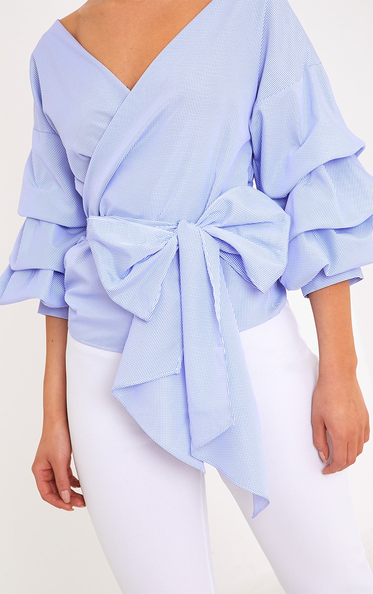 Marlow Blue Check Oversized Ruffle Sleeve Low Shoulder Shirt 5