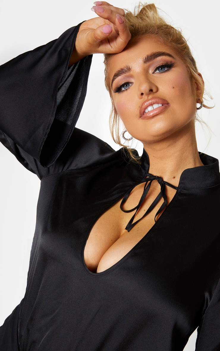 Plus Black Satin Tie Neck Cut Out Bodysuit 4