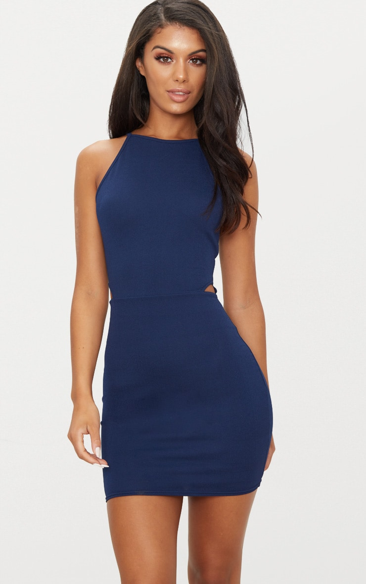 Navy High Neck Cut Out Bodycon Dress Pretty Little Thing TYfqdVyuqv