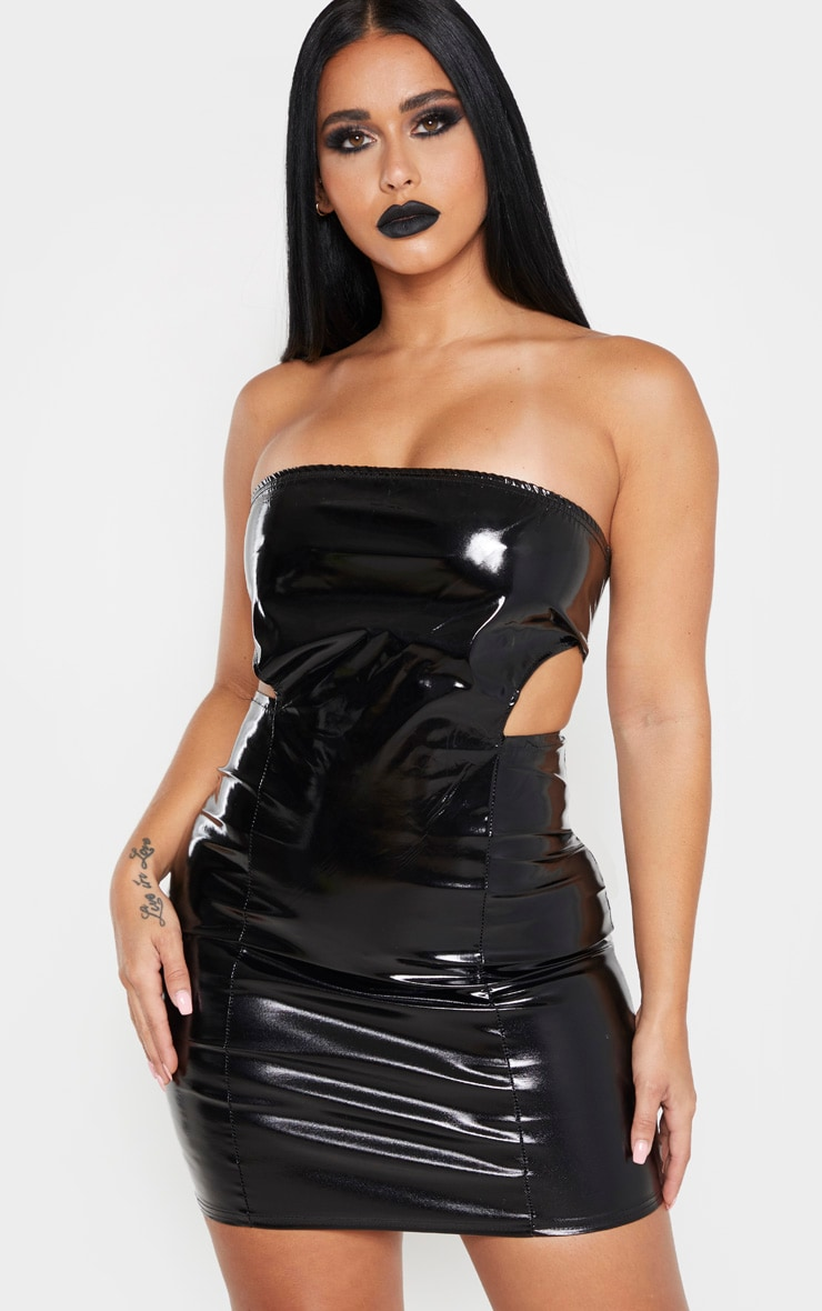 Shape Black Vinyl Cut Out Side Bodycon Dress 1