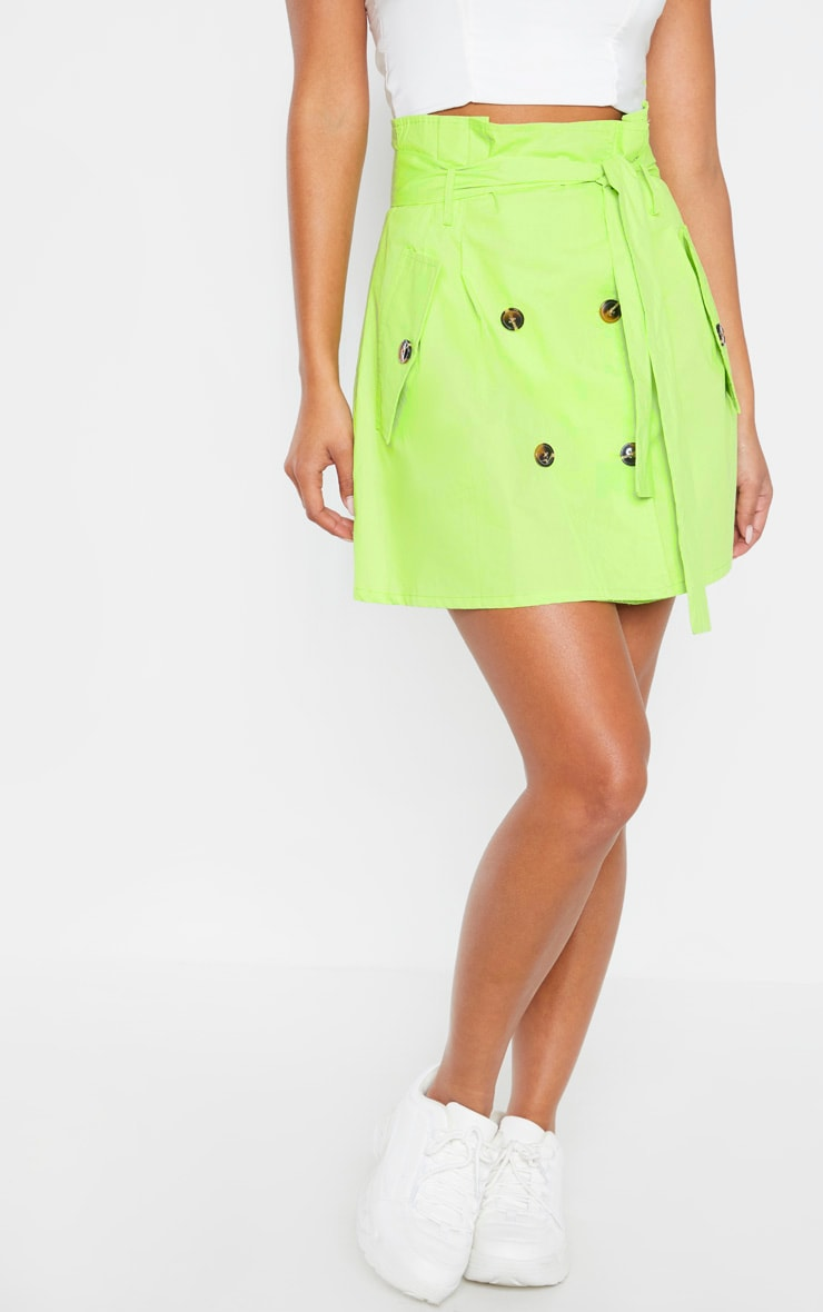 Lime Trench Tie Waist A line Mini Skirt 2