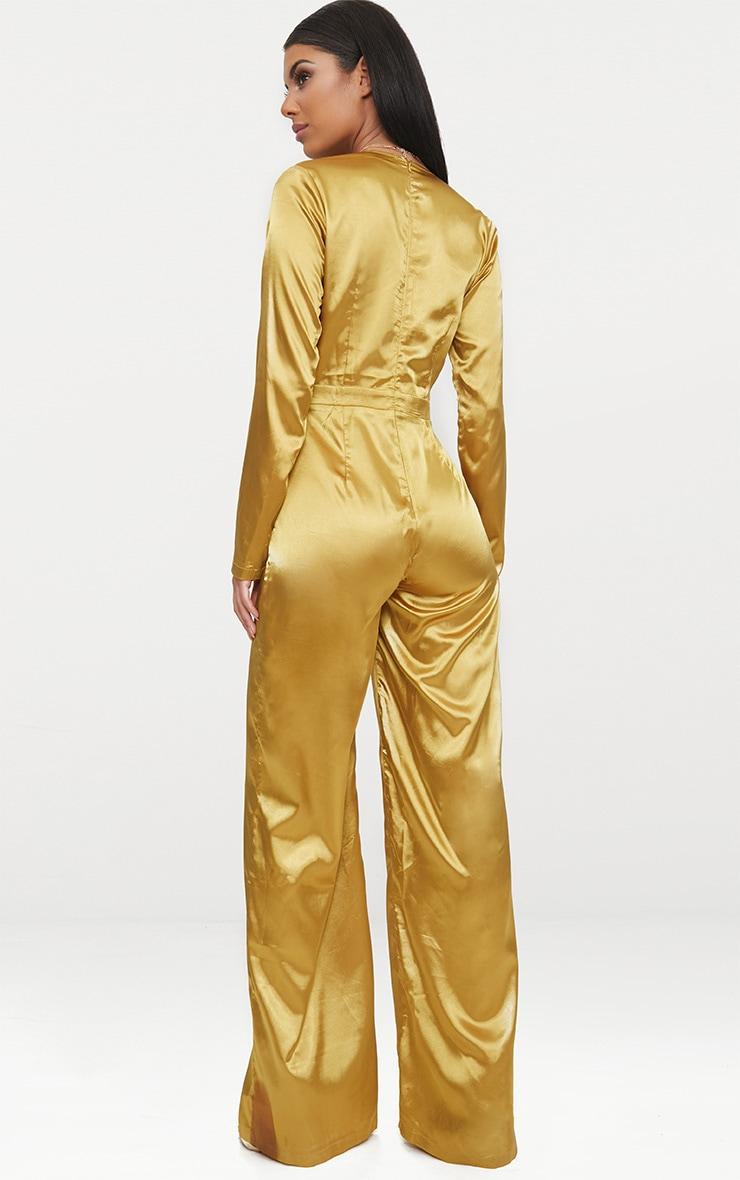 Mustard Satin Plunge Long Sleeve Jumpsuit 2