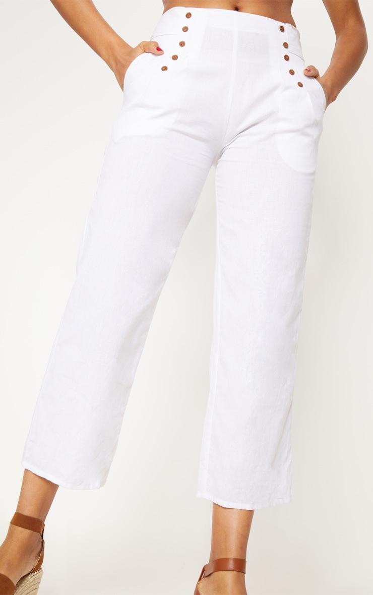 White Woven Culotte 6