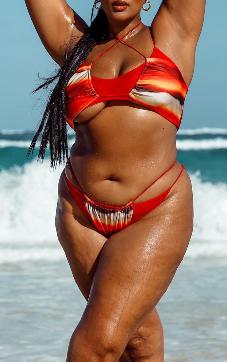 Plus Orange Ombre Double Layer Mesh Bikini Bottoms 1