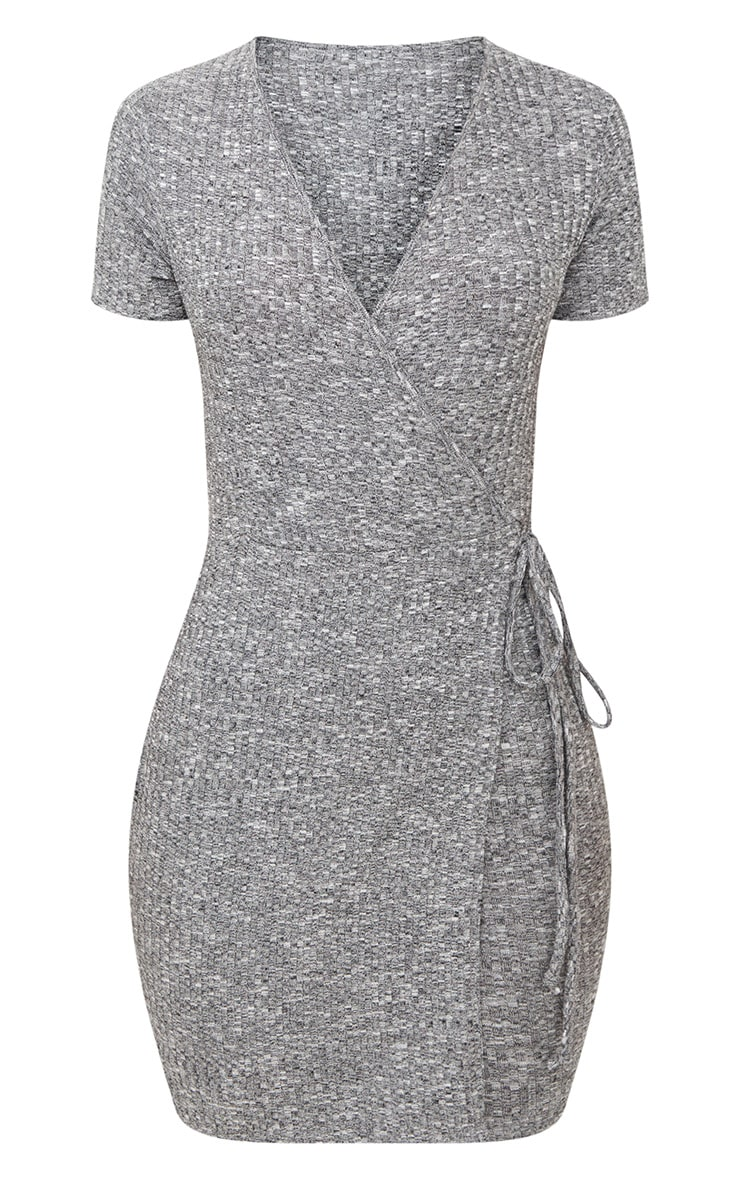 Grey Marl Ribbed Wrap Dress 3
