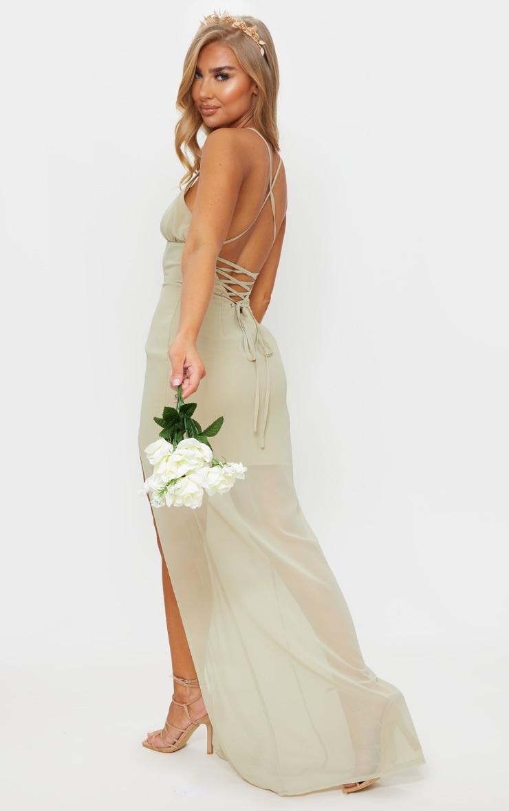 Soft Olive Strappy Lace Up Back Maxi Dress 1