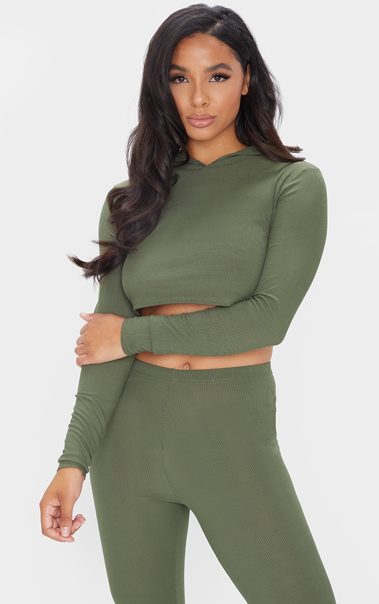 Khaki Rib Crop Long Sleeved Hoodie 1