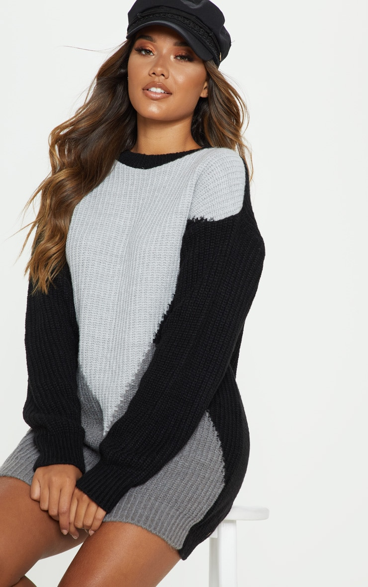 Charcoal Colour Block Knitted Jumper Dress 5