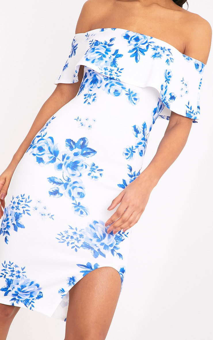 Yazmine White Frill Bardot  Midi Dress 5