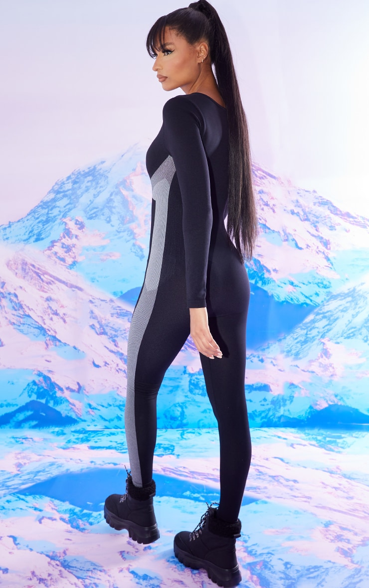 Black Seamless Ski Long Sleeve Zip Up All In One 2