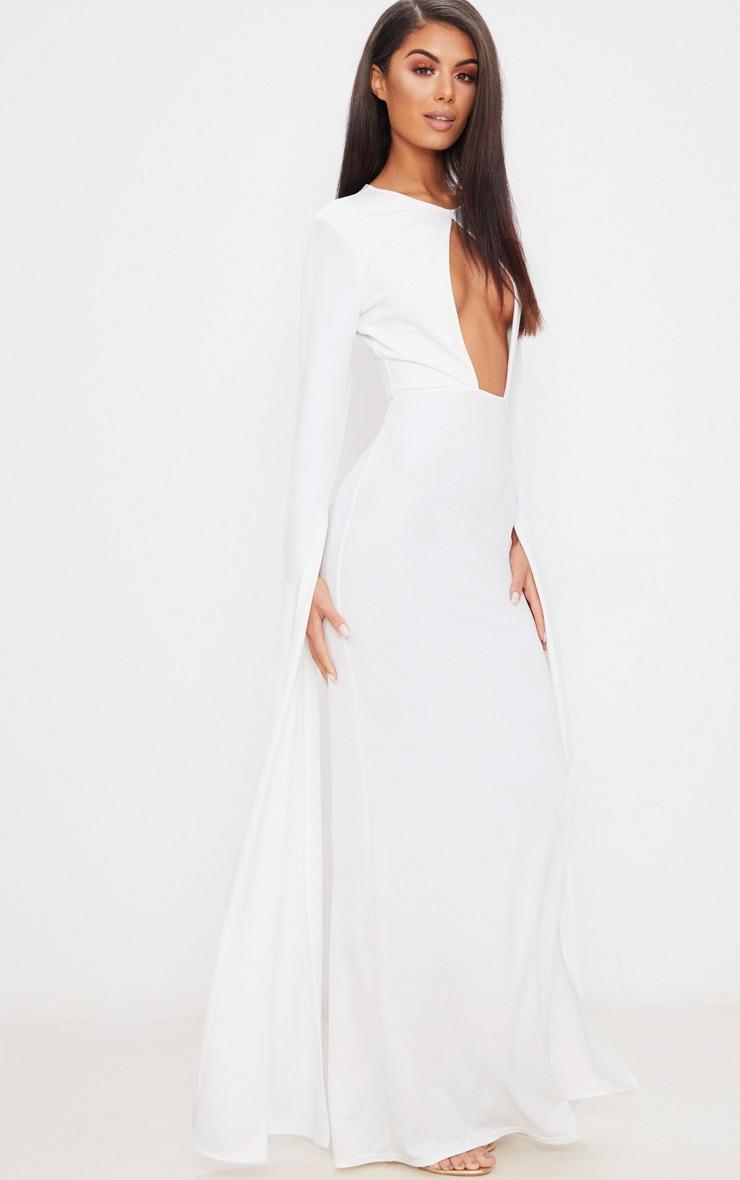 White Cut Out Detail Drape Sleeve Maxi Dress 1