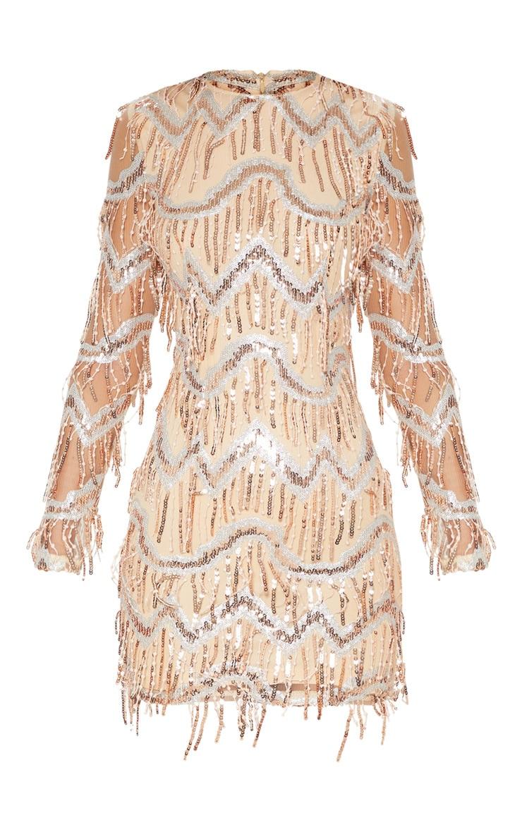 Gold Sequin Tassel Detail Long Sleeve Bodycon Dress 3