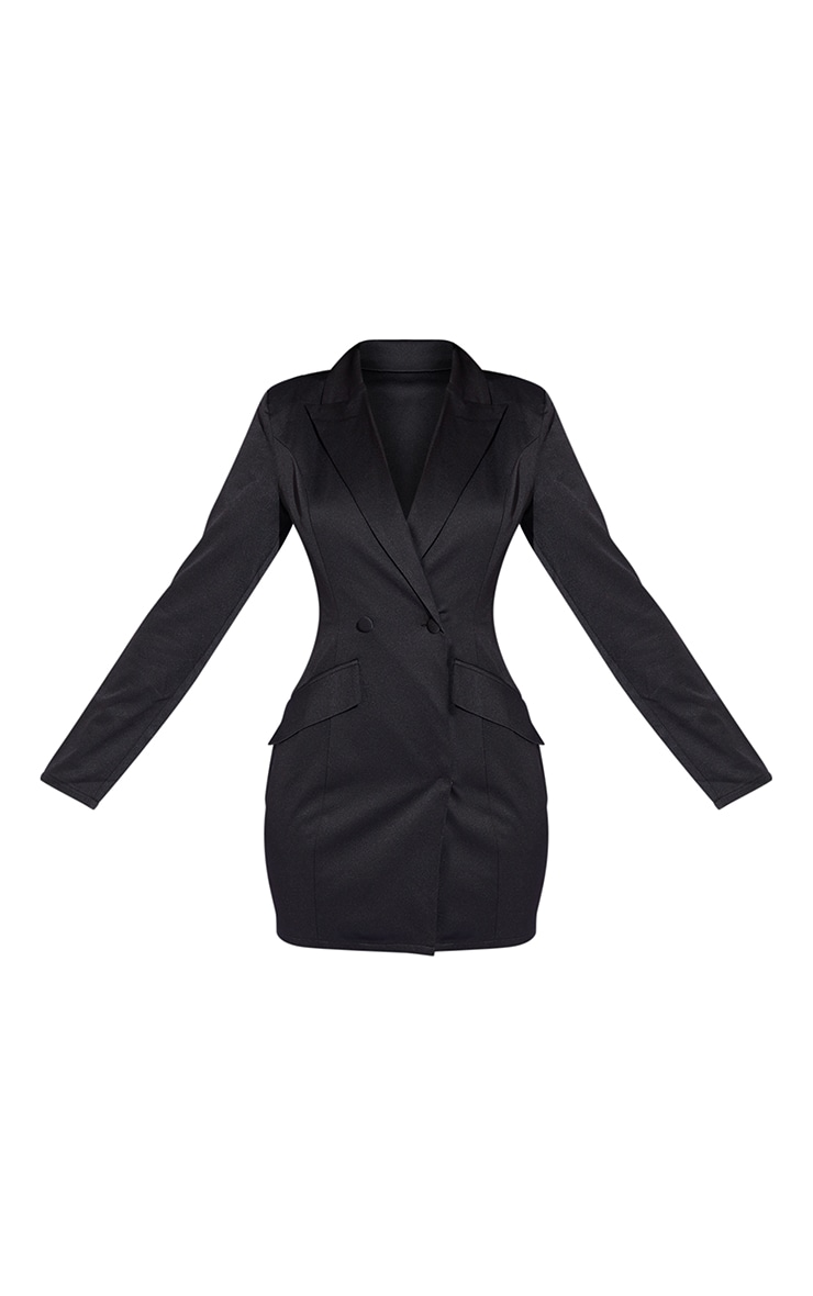 Black Long Sleeve Pinched Waist Button Detail Blazer Dress 5
