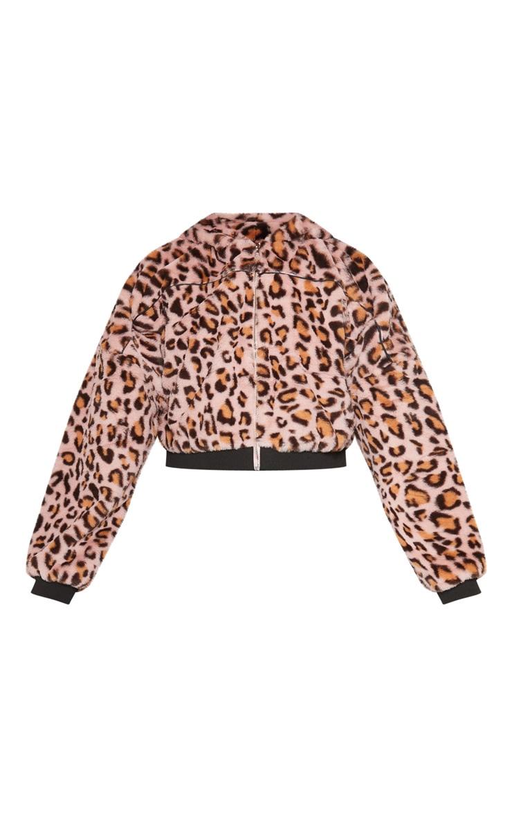 Pink Leopard Faux Fur Hooded Jacket 3