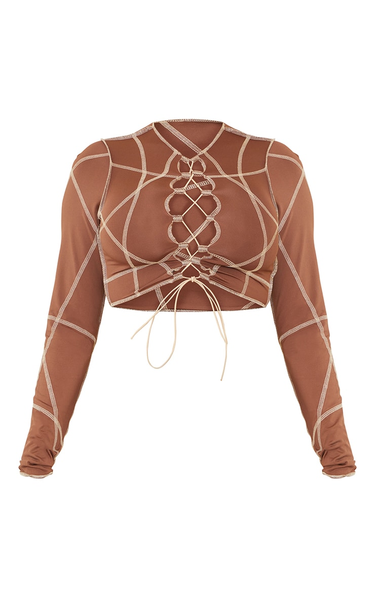 Shape Brown Contrast Stitch Lace Up Detail Crop Top 5