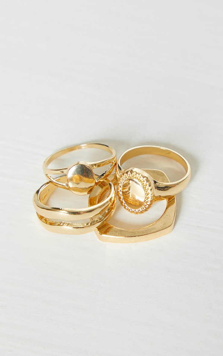 Gold Assorted 4 Pack Rings 3