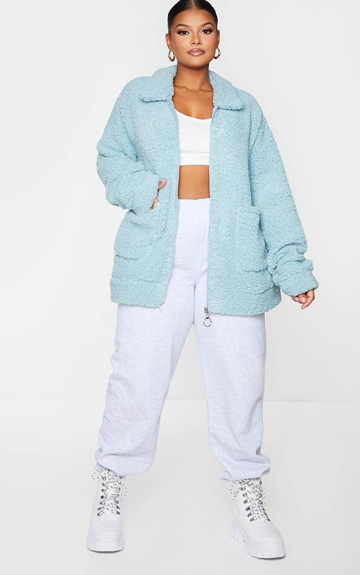 Plus Mint Teddy Pocket Front Oversized Jacket 1