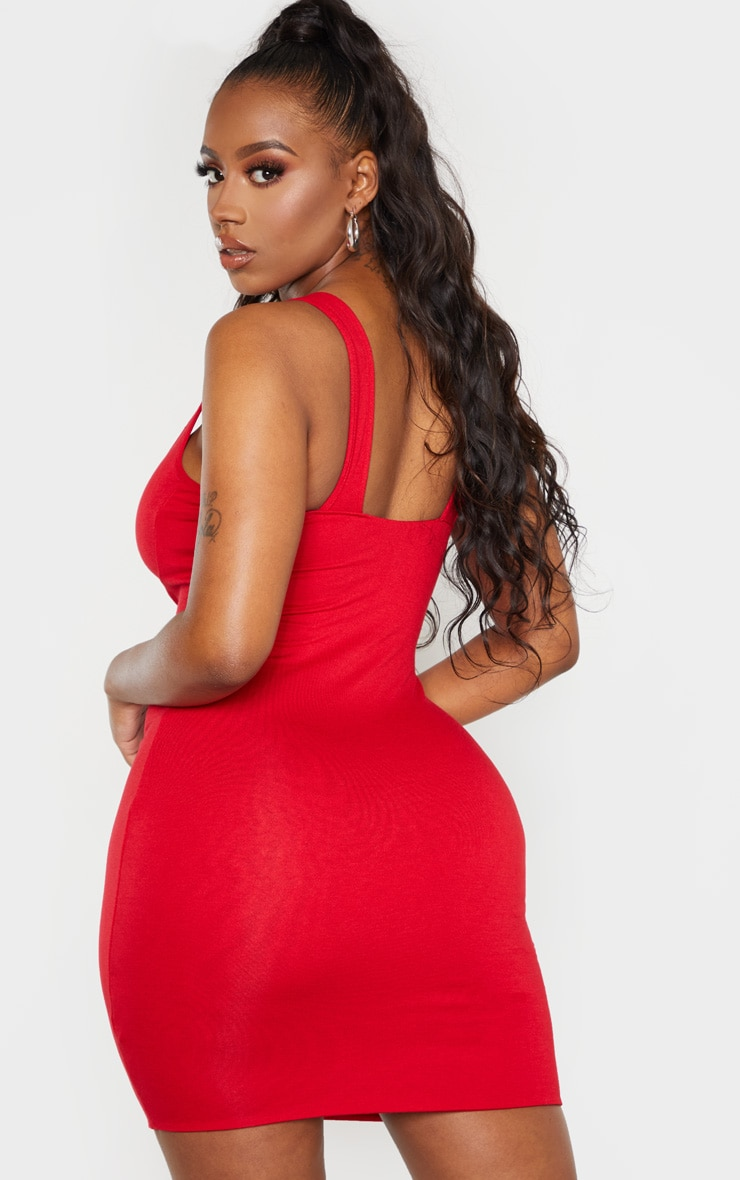 Shape Red Jersey Bust Cup Strappy Bodycon Dress 3
