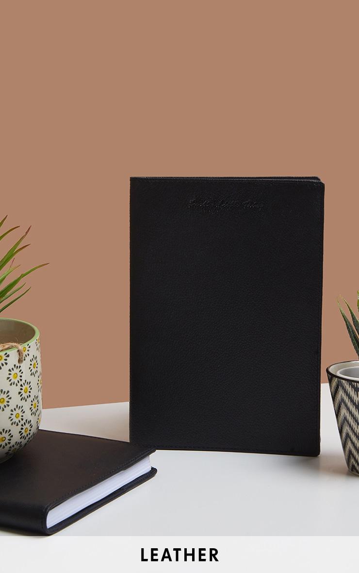 Carnet de notes réutilisable A5 en cuir noir à logo PLT