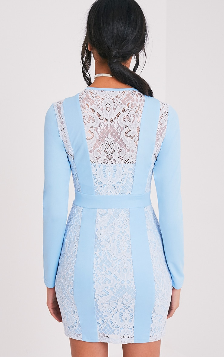 Issie Powder Blue Long Sleeve Lace Panel Bodycon Dress 2