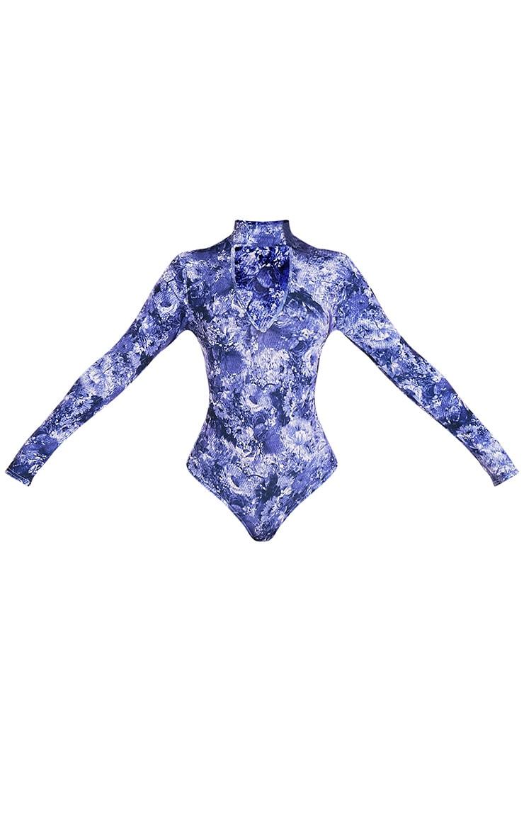 Zena Blue Floral Print Thong Bodysuit 4