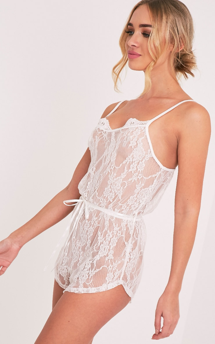 Sanny White Lace Teddy Nightsuit 8