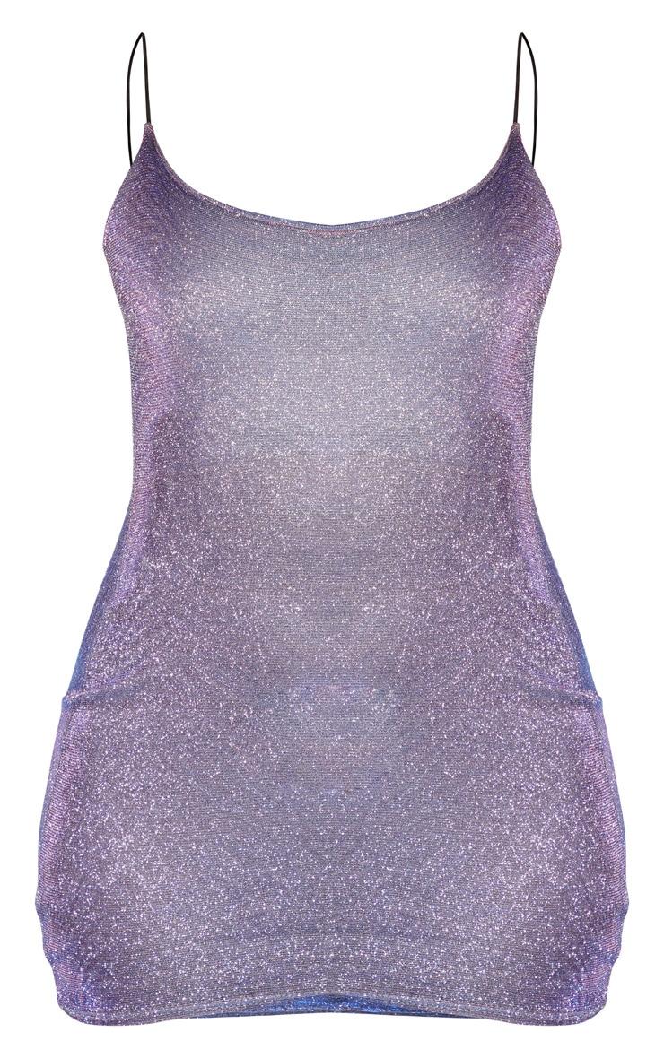Lilac Irridescent Glitter Strappy Bodycon Dress 3